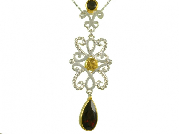 GOLDEN SUNSTONE, GARNET AND CITRINE PENDANT by Michou