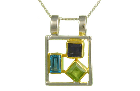 PERIDOT, IOLITE AND BLUE TOPAZ PENDANT by Michou